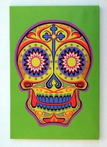 Colorful Day of the Dead Sugar Skull on Green Canvas!