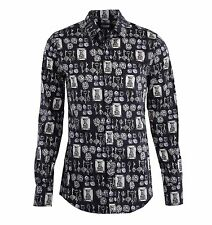 DOLCE & GABBANA SICILIA Keys, Dices & Towers Printed Stretch Shirt Black 04816