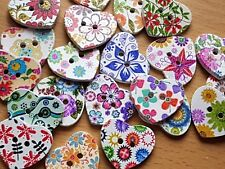 Wooden mixed LOVE HEART shaped CRAFT SEWING BUTTONS 25mm - Scrapbooking