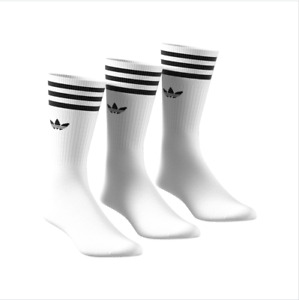 Adidas Originals 3 Pack Crew Logo Socks New in White UK size 5.5-12