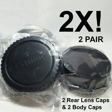 2 Pack of Canon EOS EF EF-S Rear Lens Caps + Camera Body Caps for Canon DSLR SLR