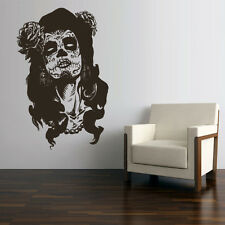 Wall Decal Vinyl Sticker Skull Tattoo Girl Sunglasses Victorian Zombi (Z3138)