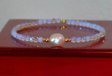 White Faceted OPAL/South Sea Pearl Bangle Bracelet 14K Yellow Gold