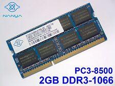 2GB DDR3-1066 PC3-8500 NANYA 204pin 1066 Mhz LAPTOP SODIMM RAM MEMORY SPEICHER