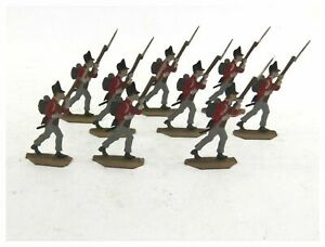 Antique collection of 9 Infantry tin flats toy soldiers hand painted