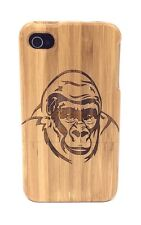 iPhone 4/4s Bamboo Wood Case ( Gorilla Engraving ) 100% Genuine Wood Cover✔️