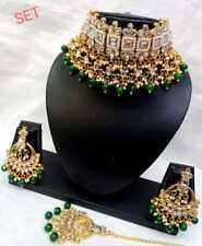 Ethnic Bollywood Indian Fashion Kundan Jewelry Gold Plated Bridal Necklace Set