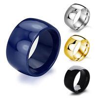 Retro Stainless Steel 12MM Ring Band Titanium Men Women Wedding Engagement Ring