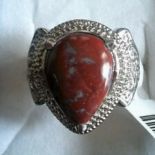 Red Lighting Jasper Pear Ring in Stainless Steel Size 8-FREE Shipping