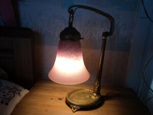 LAMPE C. RANC PIED BRONZE ART DECO / NOUVEAU TULIPE SCHNEIDER DAUM MULLER