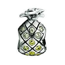 Chamilia Pineapple Yellow Clear Swarovski Bead Charm JB-37 NEW Authentic RETIRED