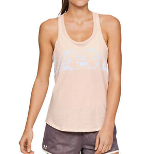 Under Armour UA HeatGear Abstract Logo Graphic Salmon Ladies Running Vest