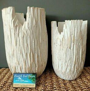 Wooden Jagged Whitewash Pot Set of 2 NEW