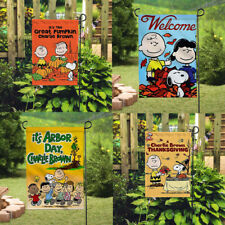 Decor Snoopy Dog Signs Outdoor Banner/Flag Double Sided Print Linen Garden Flags