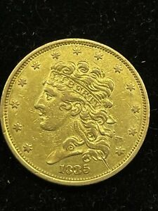 1835 $5 Classic Head Half Eagle Gold Coin, Well Preserved!