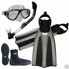 New Scuba Dive Mask Semi-Dry Snorkel Boots Fins Gear Set Package