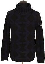 Emporio Armani EA7 Herren Rollkragen Pullover Men Sweater Größe M Navy Schwarz