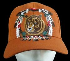 ORANGE BASEBALL CAP BEAR ANIMAL FEATHERS INDIAN DREAM CATCHER CASQUETTE