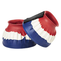 Elico Flexible Rubber Over Reach Boots  - Red White Blue Splash - Medium Large