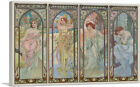 ARTCANVAS Times of The Day Canvas Art Print by Alphonse Mucha