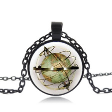 Steampunk, globe compass Black Glass Cabochon Necklace chain Pendant Wholesale