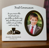Boy's 1st Holy Communion Gift, Engraved Boy's Wooden Holy Communion Photo Frame