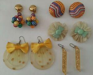 Lotto 5 paia orecchini pendenti clip vintage anni '80 colorati giallo verde donn