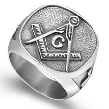 Size 7 8 9 10 11 12 13 14 15 Stainless Steel Masonic Ring Signet Style Outdoor