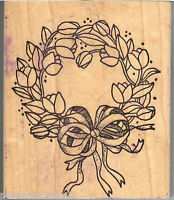 Azadi Earles Rubber Stamps K-028 Tulip Wreath With Bow S6