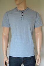 Nueva Abercrombie & Fitch clásico a rayas Henley Camiseta Camiseta Azul XXL