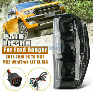For Ford Ranger PX MK2 2011 - 2018 Smoked Black Tail Lights Left+Right Rear Lamp