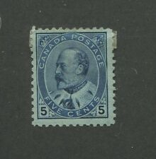 1903 Canada 5 Cent Blue Stamp Scott #91 King Edward Vii Cv $250