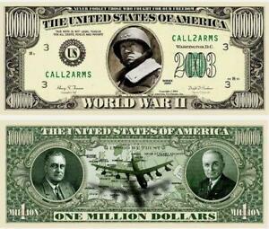WWII $1,000,000 Dollar Bill Novelty Fake Money Tender Patton, Truman, Roosevelt