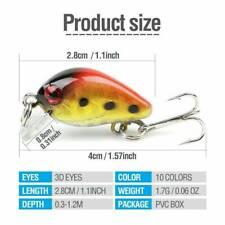 10 Fishing Lures Lots Of Mini Minnow Fish Bass Tackle Hooks Baits Crankbaits