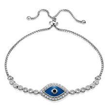 Sterling Silver Cubic Zirconia & Blue Enamel Evil Eye Adjustable Bracelet
