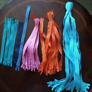 Mixed Lot of 65 Plastic Zippers Mixed Colors and Sizes