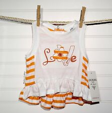 Guess ~ Toddler Girls Swing Top ~ White & Orange Stripe 'LOVE' ~ 18 Months  NWT