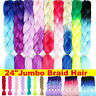 24'' Ombre Dip Dye Kanekalon Jumbo Braid Synthetic Hair Extensions MULTI Colors