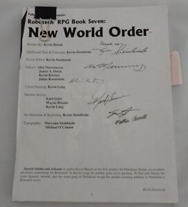 Signed Manuscript Draft Robotech New World Order by Palladium Books Autographed
