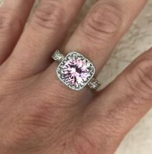 Premier Designs Pink Ice Ring Size 8 Cz Halo Design Remarkable Stunning Gorgeous