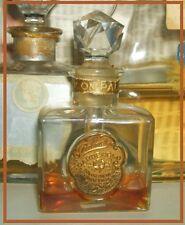 """Flacon  parfum ancien Palmer """"Gardenglo"""" émeri 8cm cristal étiquette métal doré"""