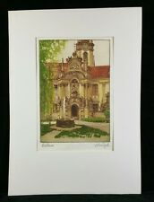 Vintage 1965 Orig Signed Colored Etching of Courtyard w Clock Tower W Euro EXC