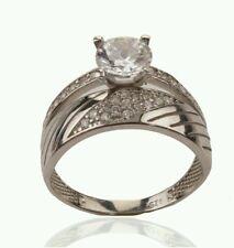 925 SILVER TURKISH OTTOMAN JEWELLERY ZIRCONIA WEDDING ENGAGMENT RING BAND
