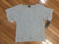 NWT Jones New York Women's Black & White Top Blouse Striped Size S   MSRP $49
