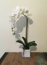 New Artificial Real Touch Potted Phalaenopsis Orchid 60cm H White Ceramic Vase