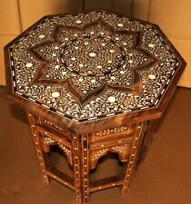 Hand Made Handicraft Solid Wood + Bone Inlay Carved Eight Angle Folding Table