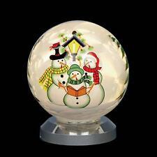 Premier Battery Light Up LED Glass Decoration - Snowman Ball