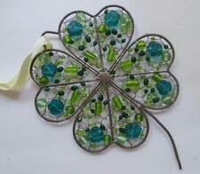 """Hand Made Shamrock with Wired Beads Shades of Green 6 x 8"""""""