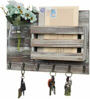 MyGift Wall Mounted Torched Wood Mail Sorter with 6 Key Hooks and Mason Jar Vase