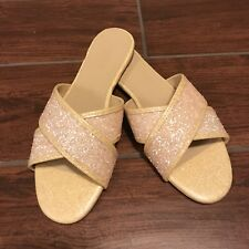 New J. Crew Glitter Cora Crisscross Sandals Buff Glitter Career Casual - Size 8